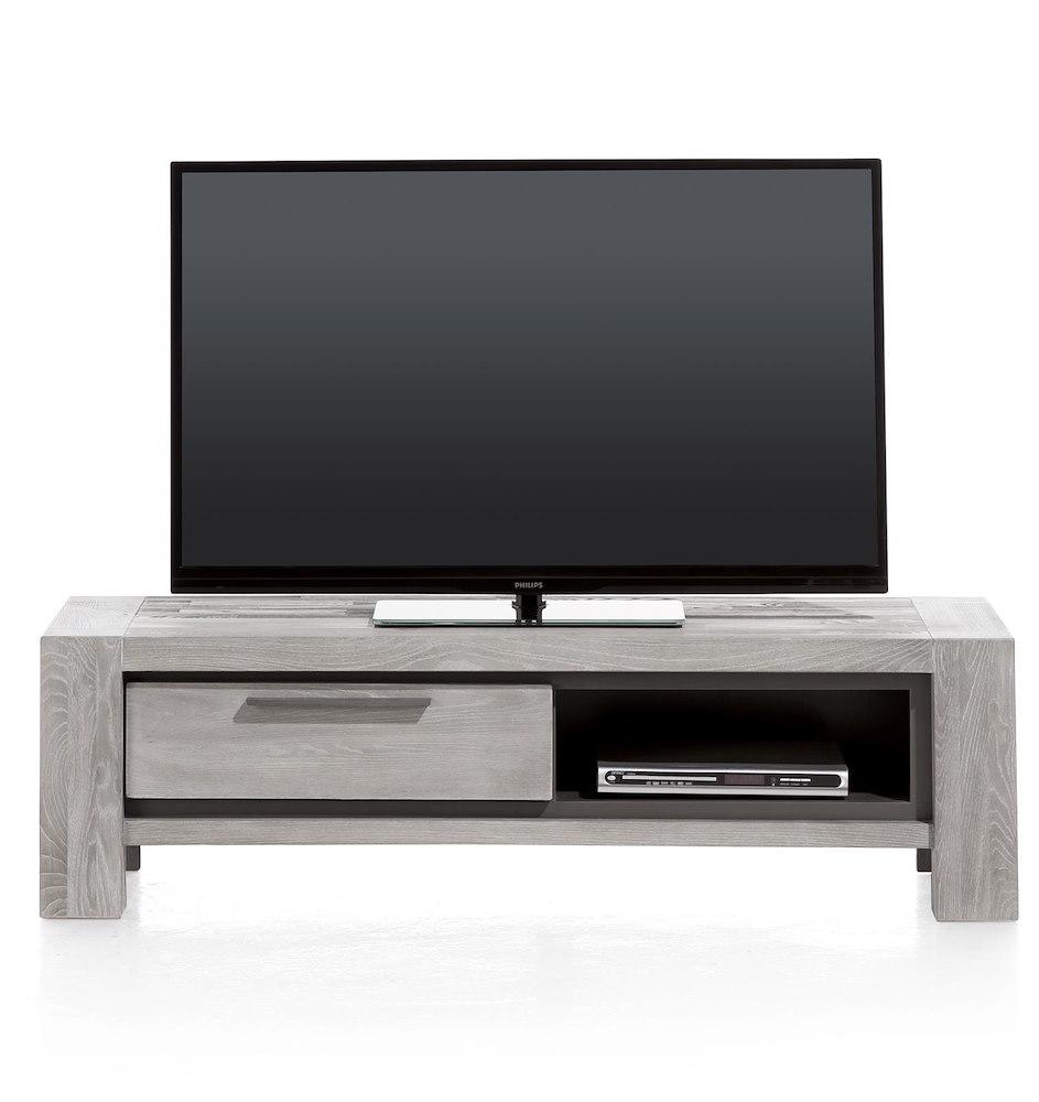 Montero meuble tv 1 porte rabattante 1 niche 140 cm for Meuble tv pour ecran plat 140 cm