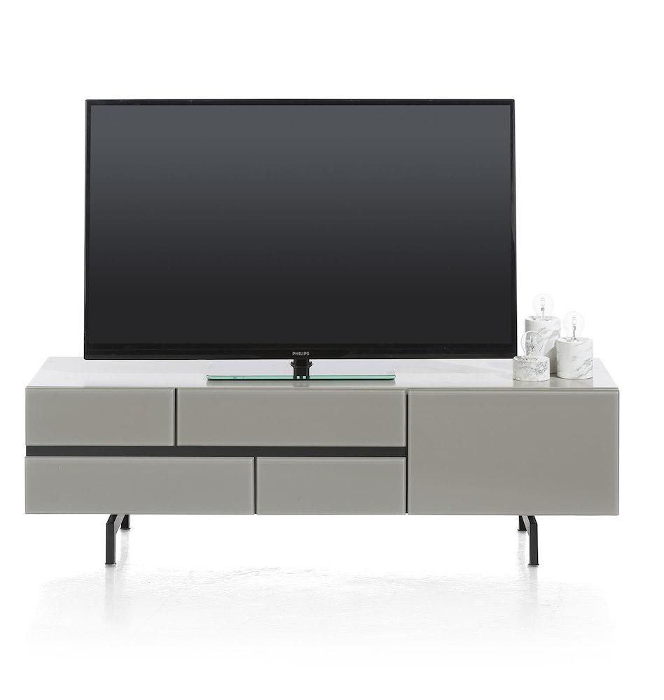 Lurano Meuble Tv 1 Tiroir 1 Porte Rabattante 140 Cm # Meuble Tv Noir Plateau Tournant
