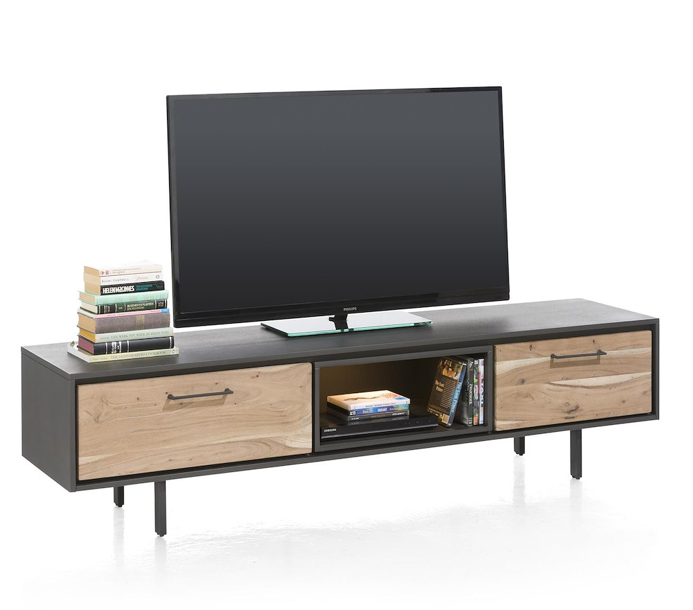 cenon meuble tv 1 tiroir 1 porte rabattante 1 niche 180 cm led. Black Bedroom Furniture Sets. Home Design Ideas