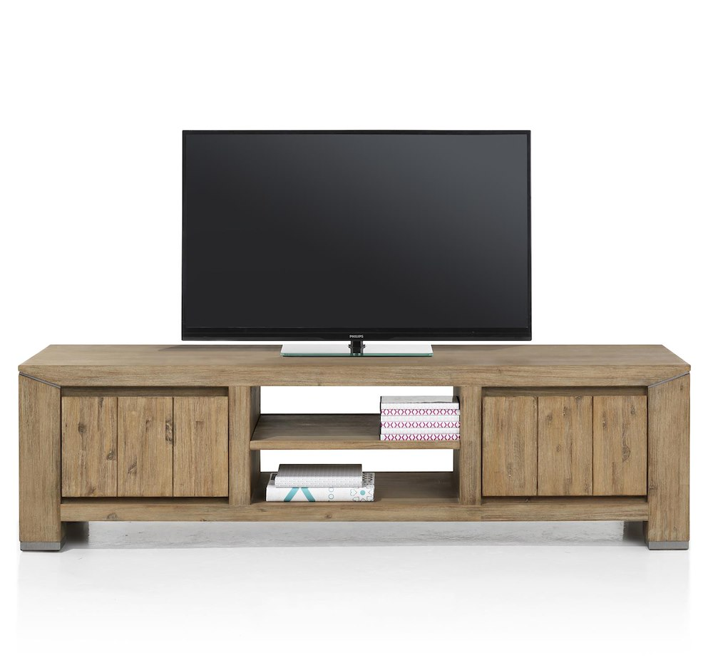 Caracas meuble tv 2 tiroirs 2 niches 160 cm for Meuble xooon