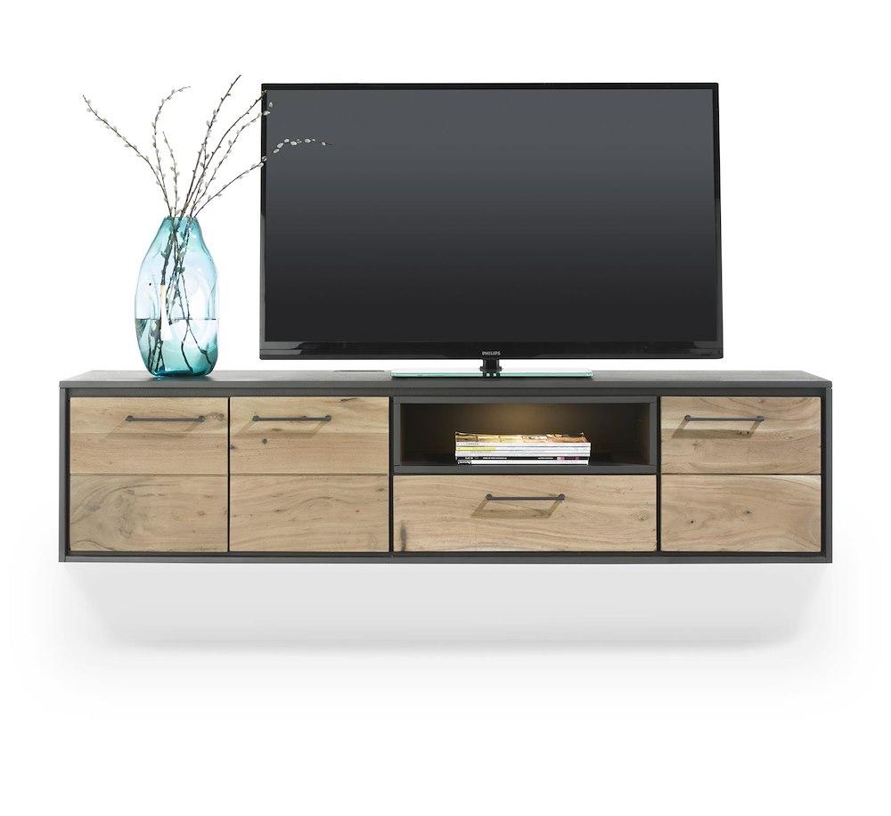 cenon lowboard mural 3 portes 1 tiroir 1 niche 160 cm led. Black Bedroom Furniture Sets. Home Design Ideas