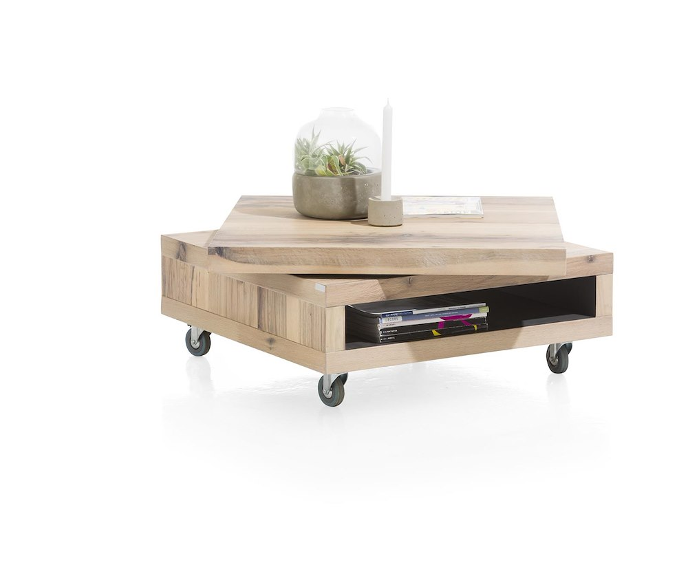 Myland table basse 80 x 80 cm 1 niche plateau pivotant - Table basse 80 x 80 ...