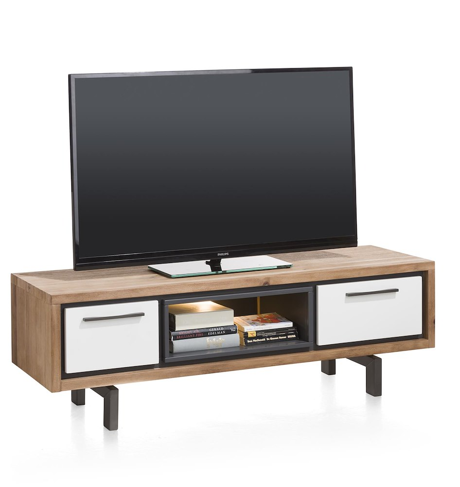 otta meuble tv 1 tiroir 1 porte rabattante 1 niche 140 cm led. Black Bedroom Furniture Sets. Home Design Ideas