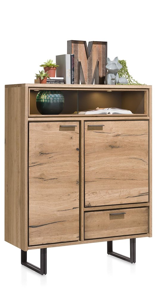 Denmark highboard 2 portes 1 tiroir 2 niches 110 cm for Meuble xooon