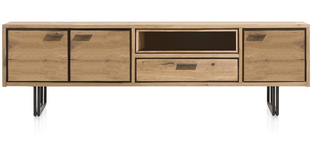denmark lowboard 3 portes 1 tiroir 1 niche 200 cm led. Black Bedroom Furniture Sets. Home Design Ideas