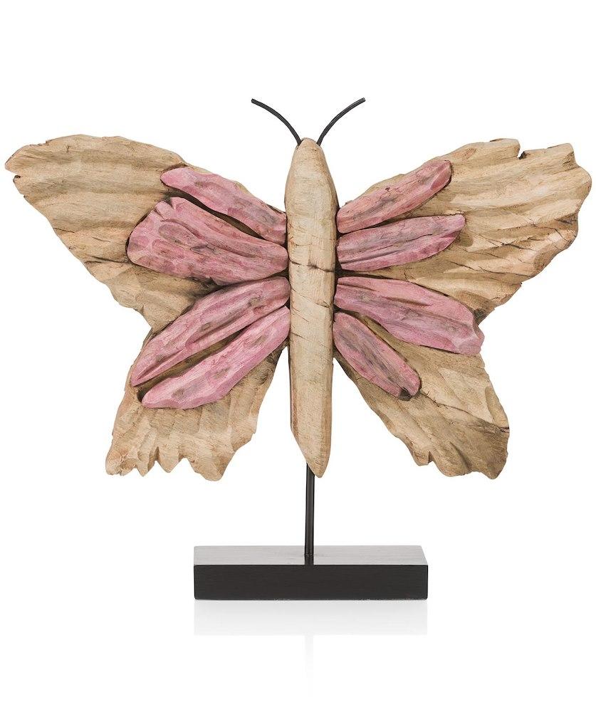 Objet butterfly large rose for Objet deco rose pale