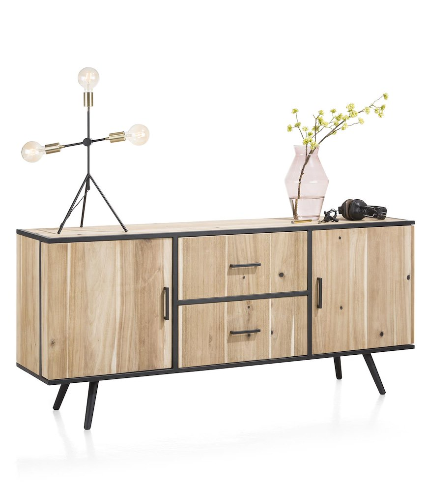 buffet 2 portes 2 tiroirs largeur 180 cm kinna xooon. Black Bedroom Furniture Sets. Home Design Ideas