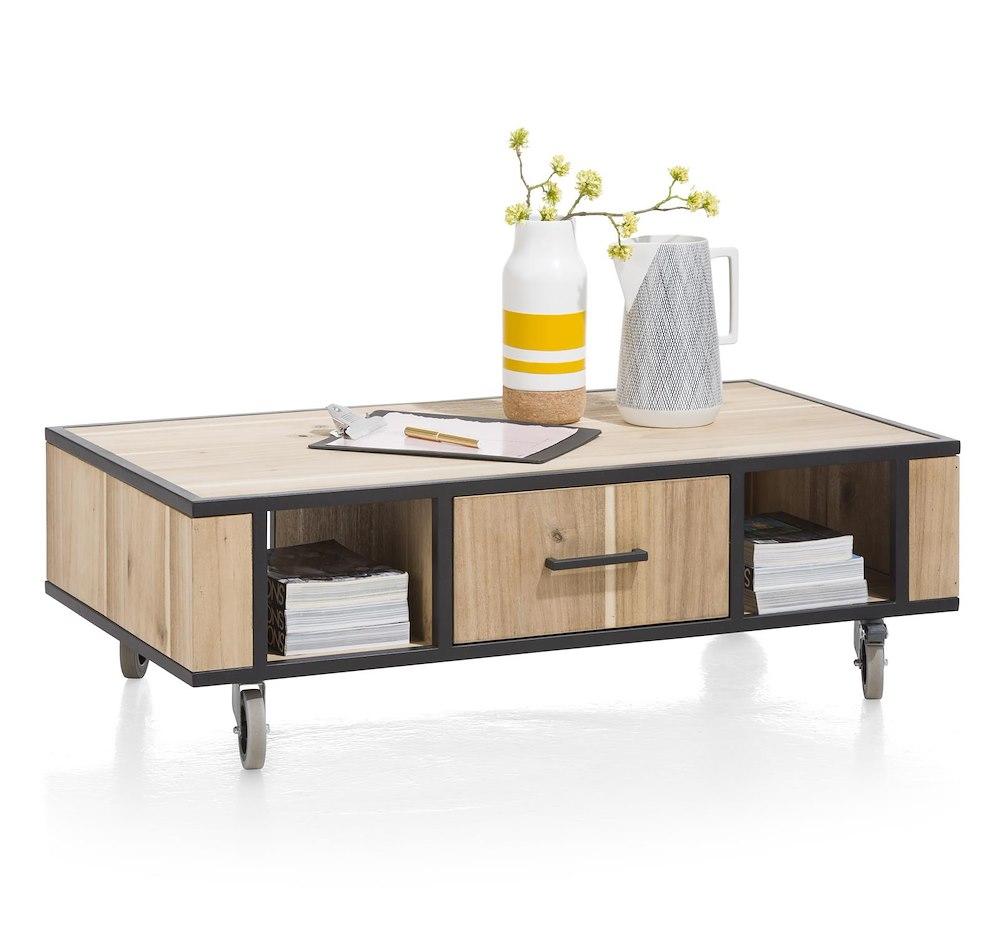meuble xooon - kinna table basse 110 x 60 cm 1 tiroir t t 2 niches