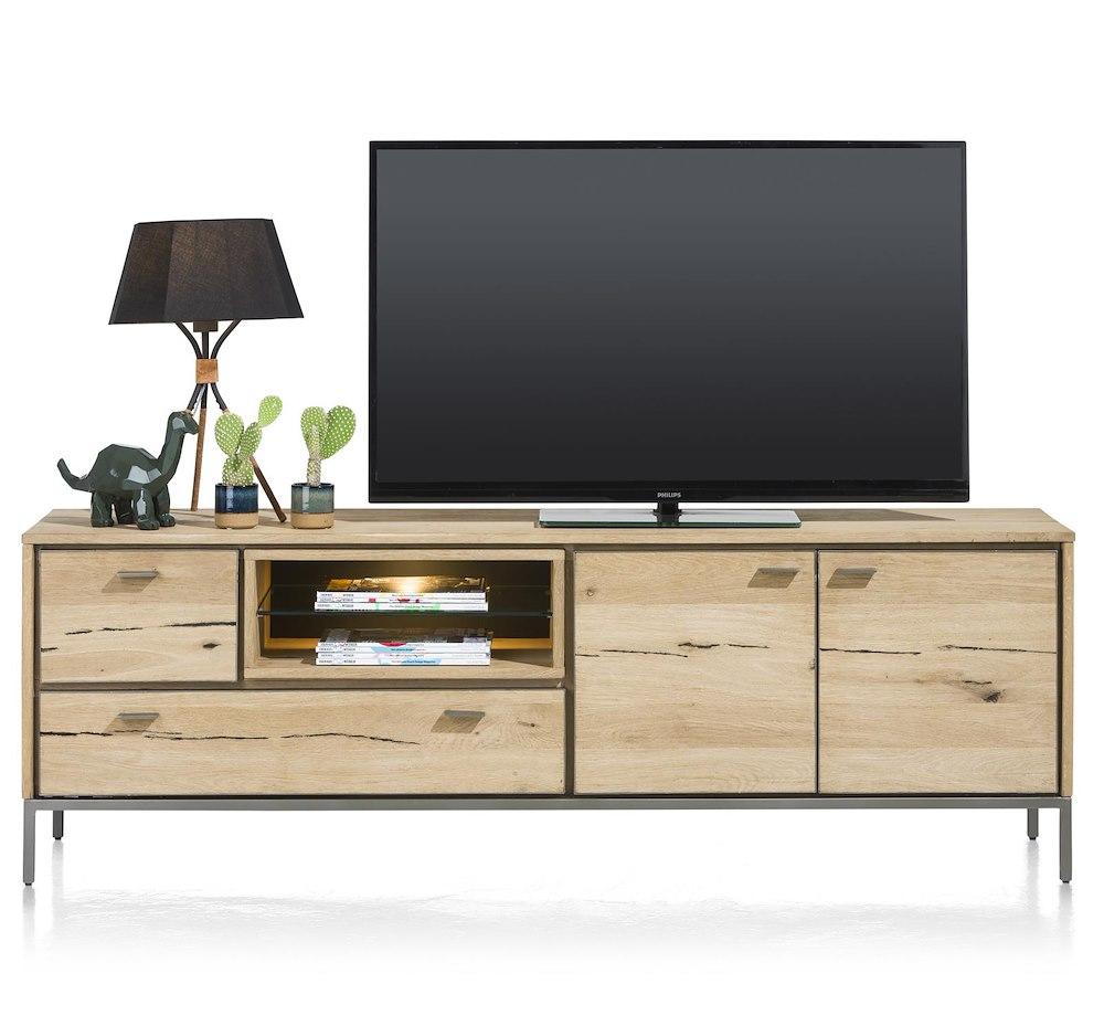 meuble t l 2 portes 2 tiroirs 2 niches avec leds faneur xooon. Black Bedroom Furniture Sets. Home Design Ideas
