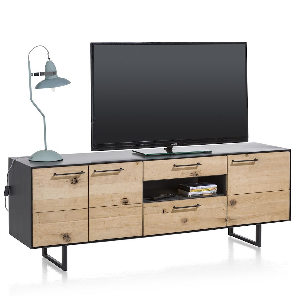 barcini lowboard 3 portes 2 tiroirs 1 niche 170 cm led. Black Bedroom Furniture Sets. Home Design Ideas