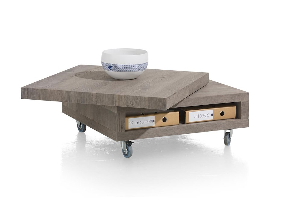 Vinovo table basse 80 x 80 cm plateau pivotante bois - Table basse 80 x 80 ...