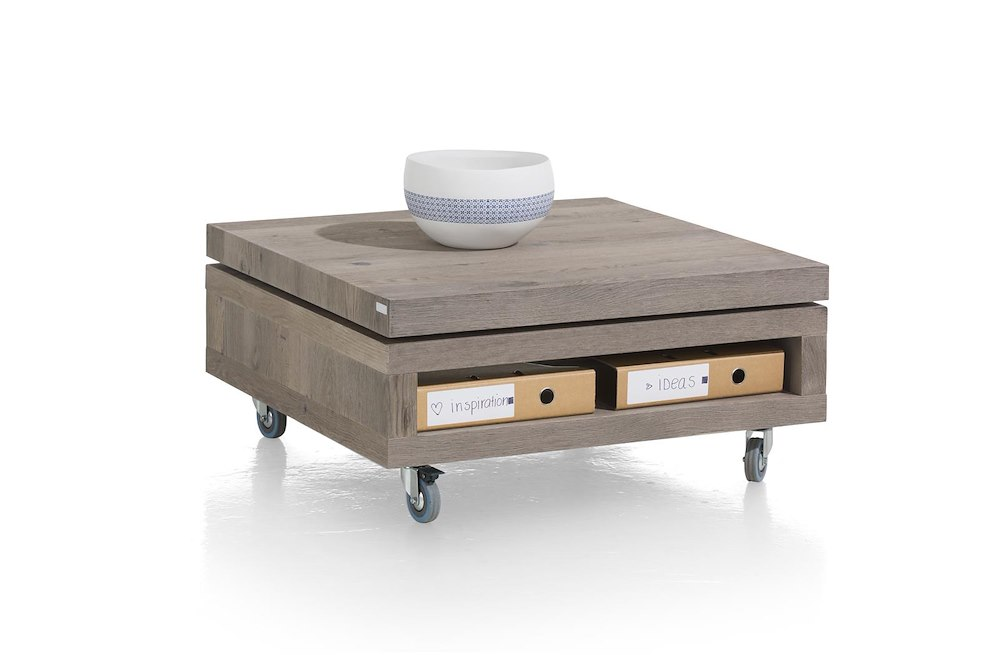 Vinovo table basse 80 x 80 cm plateau pivotante bois - Table basse 80 x 80 ...