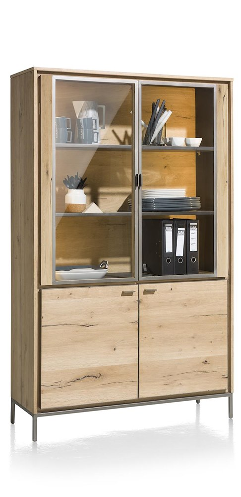 meuble de rangement vitrine 2 portes verre 2 portes bois faneur. Black Bedroom Furniture Sets. Home Design Ideas