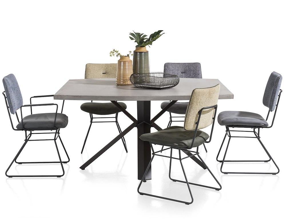 Maddox table 220 x 100 cm beton pied forme etoile - Pied de table 100 cm ...