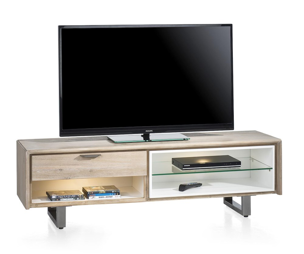 verano meuble tv 1 tiroir 3 niches 150 cm 2 led. Black Bedroom Furniture Sets. Home Design Ideas