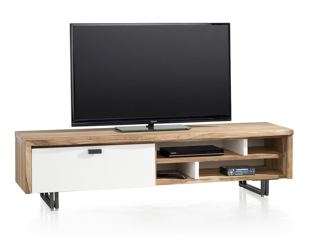 Vista meuble tv 1 porte rabatt 4 niches 170 cm for Meuble xooon