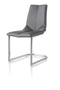 Artella, Chaise Pied Inox + Traineau Carre + Moreno Anthracite