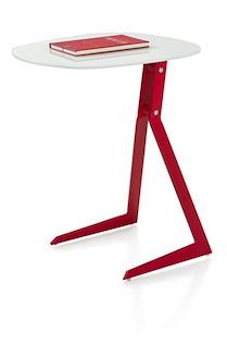 Calimero, Table D'appoint Pour Portable 50 X 44,5 + Rouge / Blanc