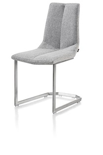 Artella, Chaise Inox Traineau Carre + Forli Gris Clair