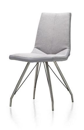 Artella, Chair Stainless Steel Design Leg + Forli Light Grey