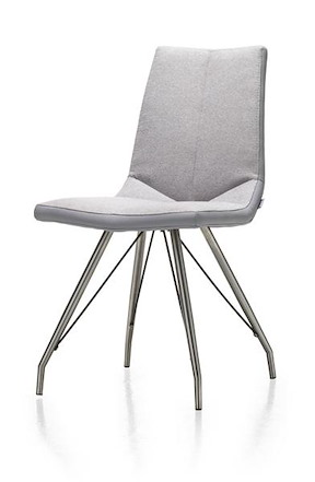 Artella, Chaise Inox Pietement Eiffel + Forli Gris Clair