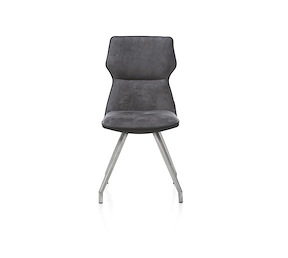 Chaise Pieds Inox Assise Synthetique Et Tissu Demi Xooon
