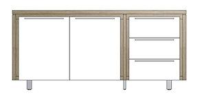 Mister, Buffet 2-portes + 3-tiroirs 180 Cm - Inox