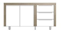 Mister, Buffet 2-portes + 3-tiroirs 160 Cm - Inox