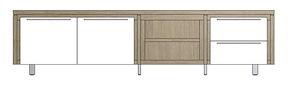 Mister, Lowboard 2-portes + 2-tiroirs + 2-niches 240 Cm - Inox