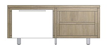 Mister, Lowboard 1-porte + 2-niches 140 Cm - Inox