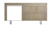 Mister, Lowboard 1-porte + 2-niches 120 Cm - Inox