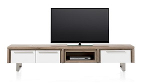 Mister, Meuble Tv 2-portes Rabatantes + 1-tiroir + 1-niche 220 Cm - Inox
