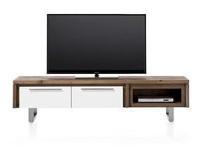 Mister, Meuble Tv 2-portes Rabatantes + 1-niche 180 Cm - Inox