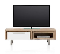 Mister, Meuble Tv 1-porte Rabatante + 1-niche 140 Cm - Inox
