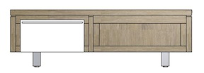 Mister, Meuble Tv 1-porte Rabatante + 1-niche 120 Cm - Inox