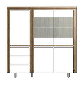 Mister, Highboard 3-portes + 2-portes En Verre + 3-tiroirs 150 Cm - Inox