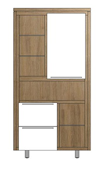 Mister, Armoire 1-porte + 2-tiroirs + 6-niches - Inox