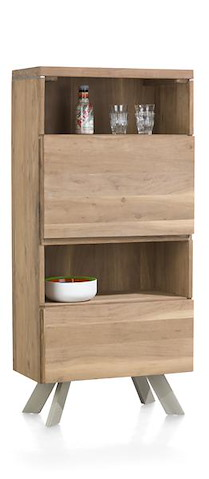 Garda, Armoire 1-tiroir + 1-porte Rabattante + 2-niches - 65 Cm
