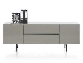 Lurano, Lowboard 2-portes + 1-tiroir + 1-porte Rabattante - 175 Cm - Taupe