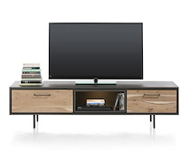 Cenon, Meuble Tv 1-tiroir + 1-porte Rabattante + 1-niche - 180 Cm (+ Led)