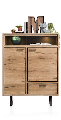 Denmark, Highboard 2-portes + 1-tiroir + 2-niches - 110 Cm (+led)