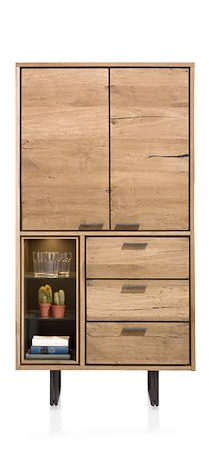 Denmark, Armoire 2-portes + 3-tiroirs + 3-niches - 100 Cm (+led)