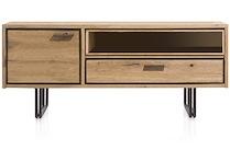 Denmark, Lowboard 1-porte + 1-tiroir + 1-niche - 140 Cm (+led)