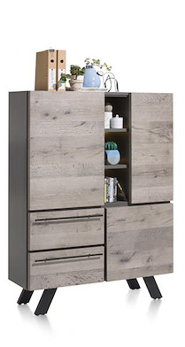 Vinovo, Highboard 3-portes + 2-tiroirs + 3-niches - 125 Cm (+ Led)