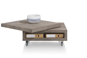 Vinovo, Table Basse 80 X 80 Cm + Plateau Pivotante Bois + Roulettes
