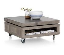 Vinovo, Table Basse 80 X 80 Cm + Plateau Pivotante Ceramique + Roues