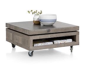 Vinovo, Table Basse 80 X 80 Cm + Plateau Pivotante Ceramique + Roulettes
