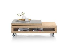 Vinovo, Table Basse 60 X 120 Cm + Plateau Pivotante Ceramique + Roulettes