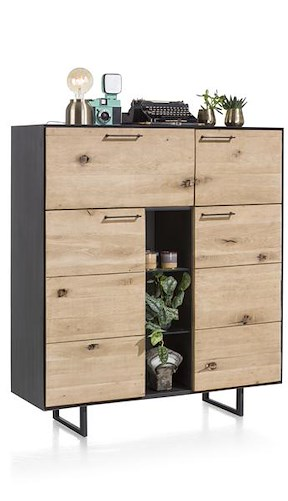 Barcini, Highboard 3-portes + 1-porte Rabattante + 3-niches- 125 Cm (+ Led)