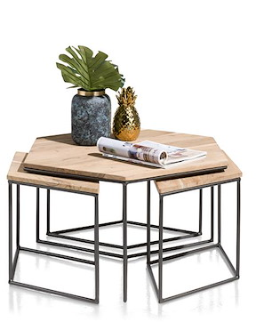 Roseville, 4 Tables Salon 1-grande + 2-petites 69 X 80 Cm